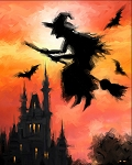 DIGITALLY PRINTED HALLOWEEN WITCH ON BROOM PANEL, BY DAVID TEXTILES