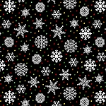 SNOW BIRD FLANNEL, BLACK SNOWFLAKES BY HENRY GLASS