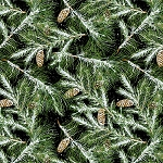 SNOW BIRD FLANNEL, GREEN BRANCHES/PINECONES BY HENRY GLASS
