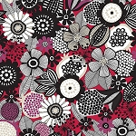 BIRDS AND BLOOMS, LIGHT RED TOSS,BY CLOTHWORKS