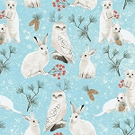 WINTER WOODLAND,BLUE OWLS AND RABBITS, BY CLOTHWORKS