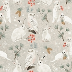 WINTER WOODLAND, NATURAL OWLS AND RABBITS , BY CLOTHWORKS