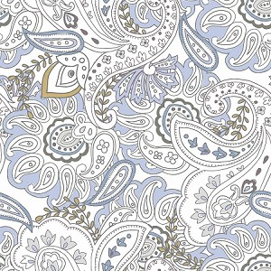 SERENA,  WHITE/GOLD PAISLEY, BY QUILTERS PALETTE