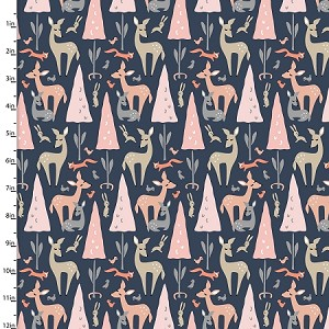 DWELLINGS, FOREST ANIMALS, BY 3 WISHES FABRICS