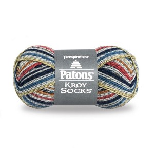 KROY SOCKS WOOL, BLUE STRIPED RAGG, BY PATONS