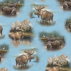 BY WATER'S EDGE BLUE MOOSE,BY QUILTING TREASURES