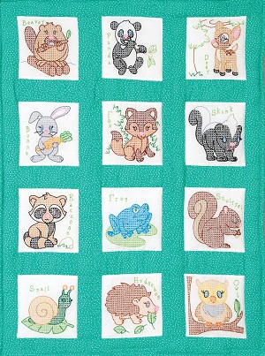 FOREST FRIENDS NURSERY QUILT BLOCK SET , BY JACK DEMPSEY NEEDLE ART