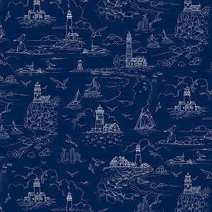 THE LIGHTKEEPER'S QUILT, DARK BLUE LIGHTHOUSE SKETCH, BY STUDIO E