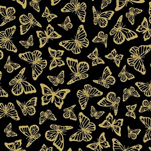 PRECIOUS METAL NATURE, BLACK  BUTTERFLIES W / GOLD METALLIC
