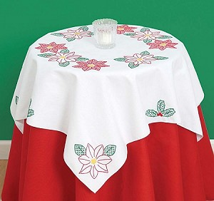 POINSETTIAS TABLE TOPPER, BY JACK DEMPSEY