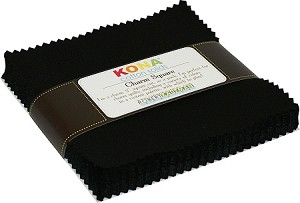 Charm Pack Kona Solid Black,by Robert Kaufman