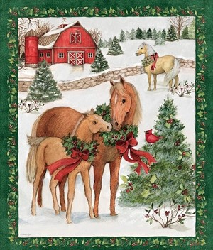 CHRISTMAS HORSES PANEL, BY SPRING CREATIVE