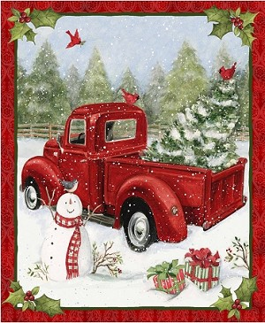 CHRISTMAS RED TRUCK CHRISTMAS FUN PANEL, BY SPRINGS