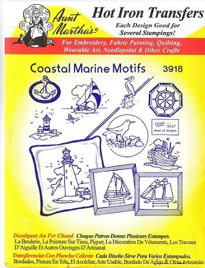 Aunt Martha's Iron On Transfers, COASTAL MARINE MOTIFS