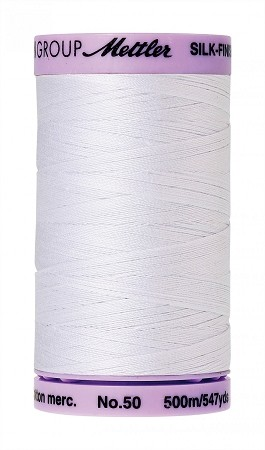 METTLER SILK FINISH 50 WT COTTON, 500M, WHITE
