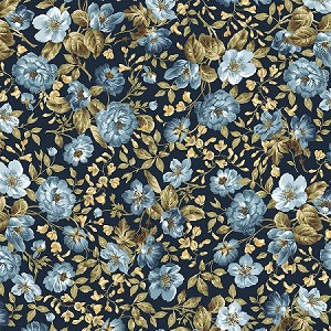 ENGLISH COUNTRYSIDE,NAVY FOCAL FLORAL,BY MAYWOOD