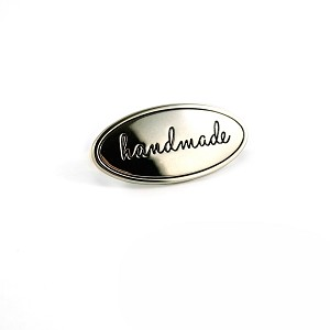 METAL BAG LABEL OVAL  HANDMADE NICKEL, BY EMMALINE BAGS