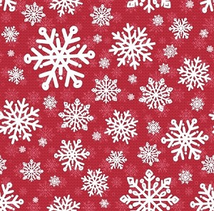 SWEATER WEATHER FLANNEL,RED SNOWFLAKES, BY HENRY GLASS