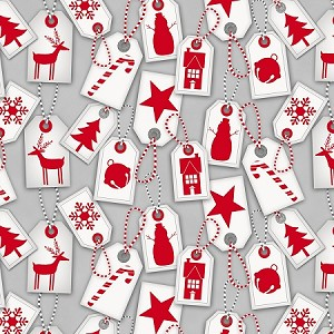 FROSTY FRIENDS, GREY HOLIDAY TAGS,FLANNEL, BY HENRY GLASS