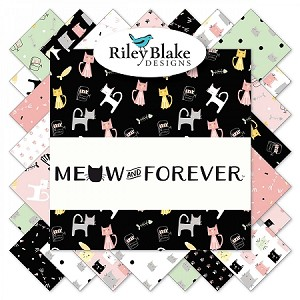 MEOW AND FOREVER, FAT QUARTER BUNDLE , 18 PCS