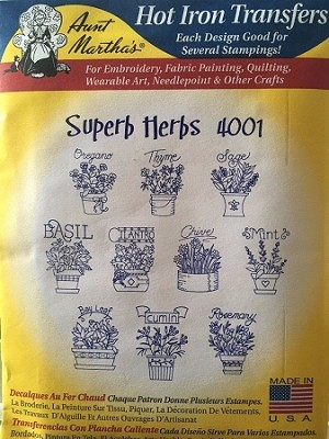 Aunt Martha's Iron On Transfers,  SUPERB HERBS