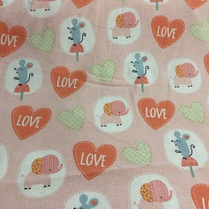 BABY LOVE  CORAL FLANNEL, LOVE HEARTS