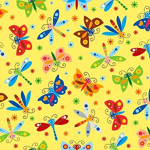 FLANNEL ,YELLOW BUTTERFLIES ,DRAGONFLIES,  BY AE NATHAN