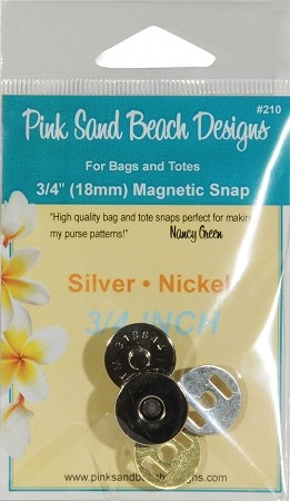 Magnetic Purse Snap Silver/Nickel  3/4''  (18mm)