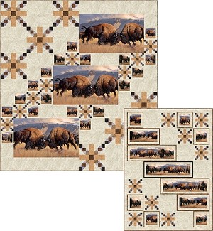 WHEN PUSH COMES TO SHOVE, BISON AT THE BORDER QUEEN QUILT KIT