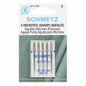 5 Microtex (sharp) Needles, by Schmetz