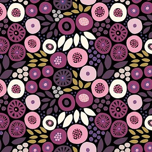 BIRDS AND BLOOMS,DARK WINE FLORAL TOSS ,BY CLOTHWORKS
